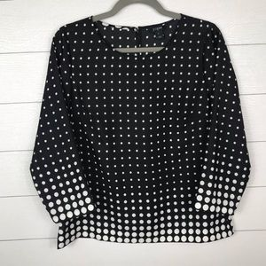 J. Crew Polka Blouse Dot Scoop Neck Long Sleeve S